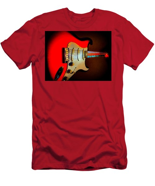 Red Burst Stratocaster Glow Neck Series Men's T-Shirt (Athletic Fit)