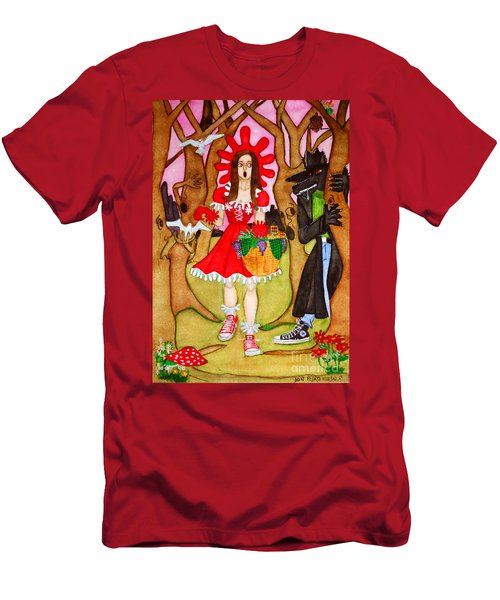 Men's T-Shirt (Slim Fit) featuring the painting The Little Riding Hood And The Wolf In Chucks by Don Pedro De Gracia