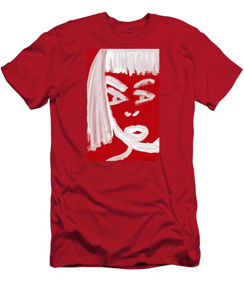 Men's T-Shirt (Slim Fit) featuring the painting Red Chinese Girl by Don Koester