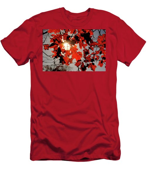 Red Fall Leaves Men's T-Shirt (Slim Fit) by Meta Gatschenberger