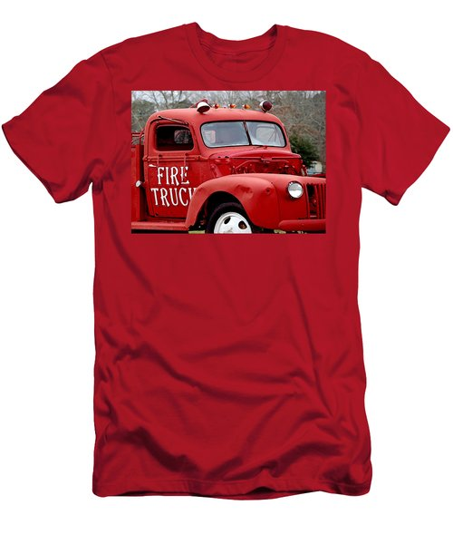 Red Fire Truck Men's T-Shirt (Athletic Fit)