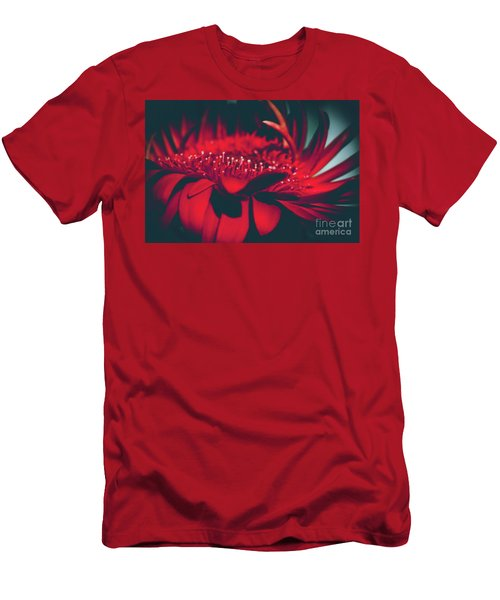 Red Flowers Parametric Men's T-Shirt (Slim Fit) by Sharon Mau