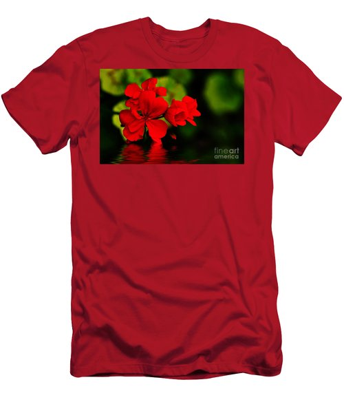Red Geranium On Water Men's T-Shirt (Athletic Fit)
