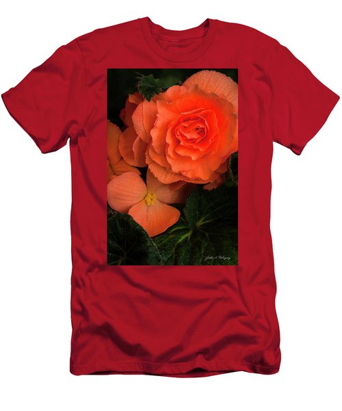 Red Giant Begonia Ruffle Form Men's T-Shirt (Athletic Fit)