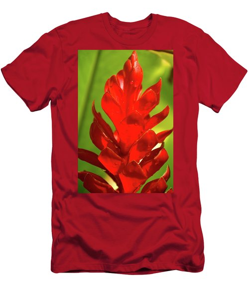 Red Ginger Bud After Rainfall Men's T-Shirt (Slim Fit) by Michael Courtney