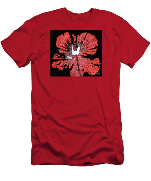 Red Hibiscus Flower In Three Dimensions Men's T-Shirt (Slim Fit) by Merton Allen