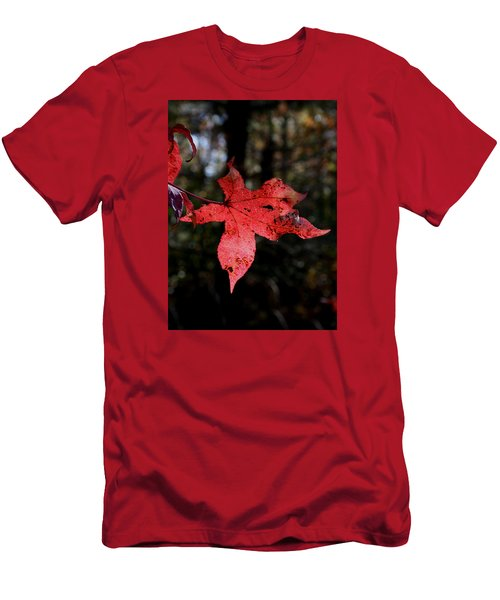 Men's T-Shirt (Slim Fit) featuring the photograph Red Leaf by Karen Harrison