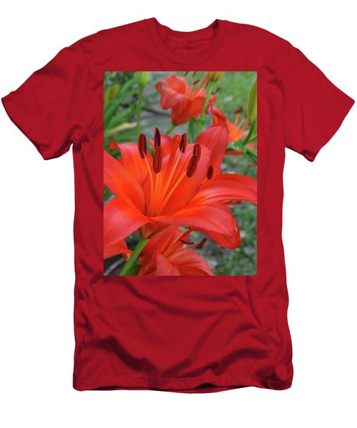 Red Lilies Men's T-Shirt (Slim Fit) by Rebecca Overton