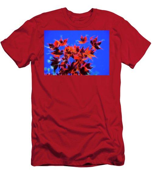 Red Maple Leaves Men's T-Shirt (Slim Fit) by Yulia Kazansky
