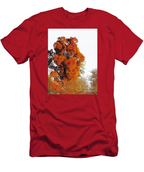 Red-orange Fall Tree Men's T-Shirt (Athletic Fit)