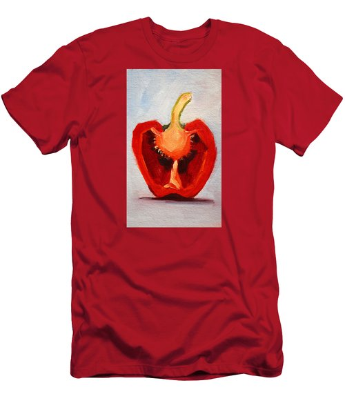 Men's T-Shirt (Slim Fit) featuring the painting Red Pepper Sliced by Nancy Merkle
