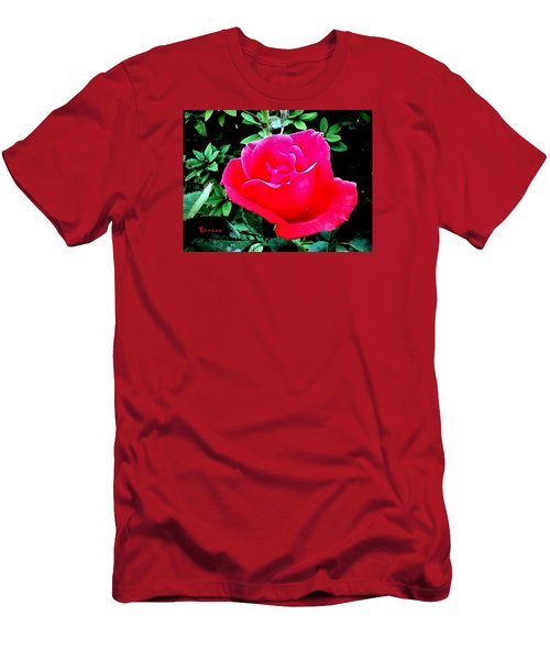 Men's T-Shirt (Slim Fit) featuring the photograph Red-pink Rose by Sadie Reneau