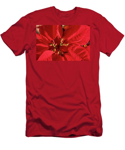 Men's T-Shirt (Slim Fit) featuring the photograph Red Poinsettia Macro by Sally Weigand