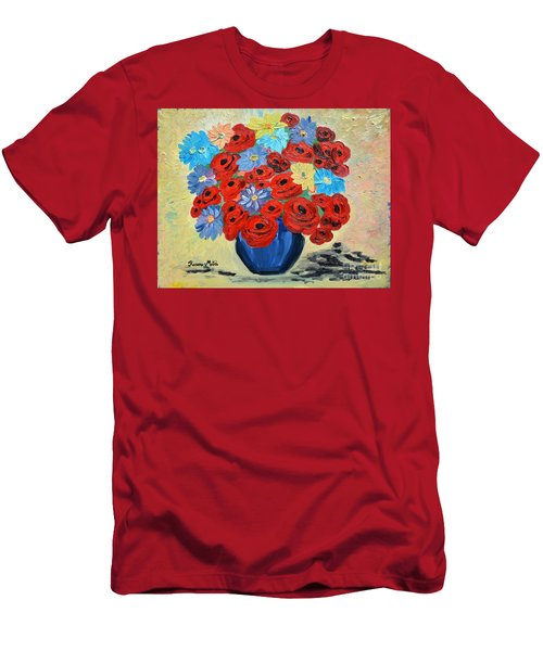 Men's T-Shirt (Slim Fit) featuring the painting Red Poppies And All Kinds Of Daisies  by Ramona Matei