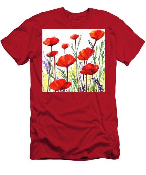 Men's T-Shirt (Slim Fit) featuring the painting Red Poppies Art By Irina Sztukowski by Irina Sztukowski