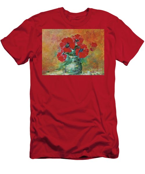 Red Poppies In A Vase Men's T-Shirt (Athletic Fit)