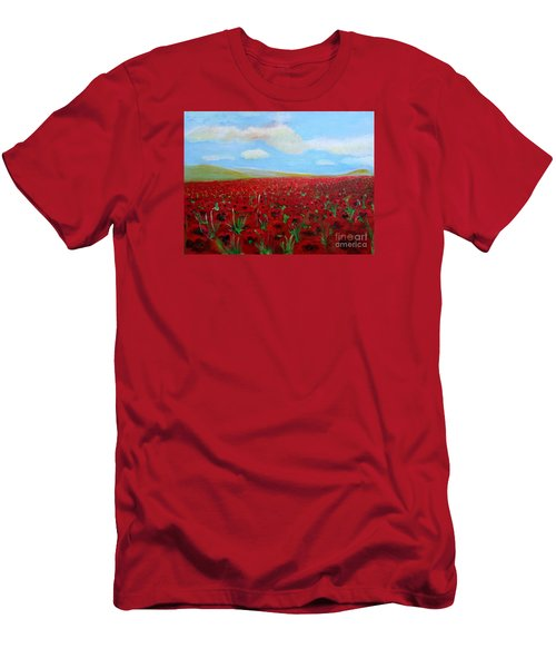 Red Poppies In Remembrance Men's T-Shirt (Athletic Fit)