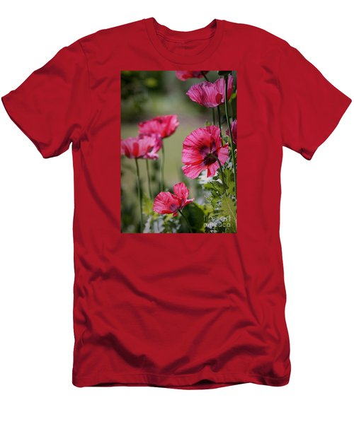 Men's T-Shirt (Slim Fit) featuring the photograph Red Poppies by Lisa L Silva