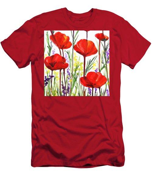 Men's T-Shirt (Slim Fit) featuring the painting Red Poppies Watercolor By Irina Sztukowski by Irina Sztukowski