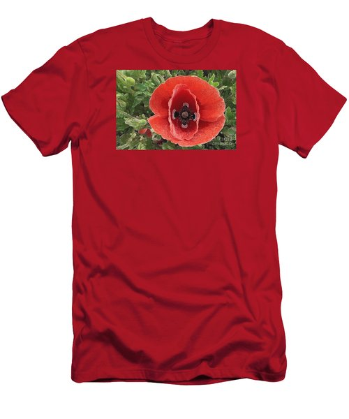 Men's T-Shirt (Slim Fit) featuring the photograph Red Poppy Flower 2 by Jean Bernard Roussilhe