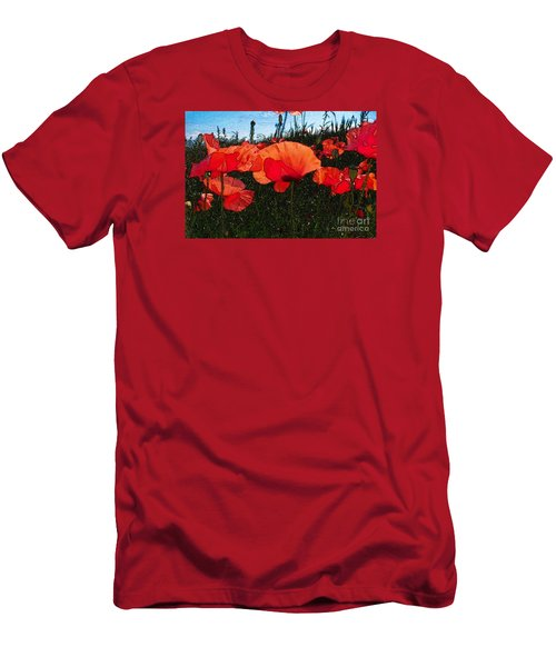 Men's T-Shirt (Slim Fit) featuring the photograph Red Poppy Flowers In Grassland by Jean Bernard Roussilhe