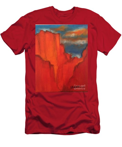 Men's T-Shirt (Slim Fit) featuring the painting Red Rocks by Kim Nelson