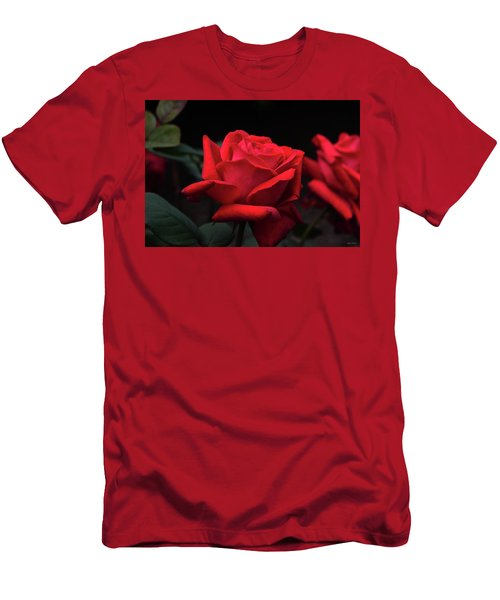 Men's T-Shirt (Slim Fit) featuring the photograph Red Rose 014 by George Bostian