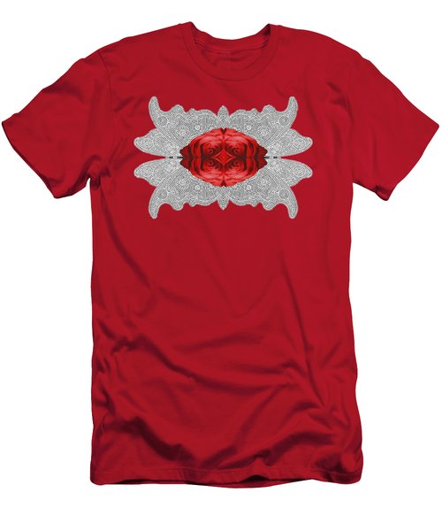 Men's T-Shirt (Slim Fit) featuring the digital art Red Rose Abstract On Digital Lace by Linda Phelps