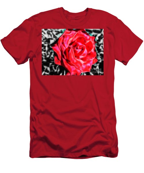 Red Rose Fractal Men's T-Shirt (Athletic Fit)