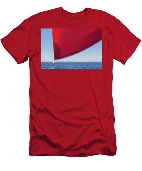 Men's T-Shirt (Athletic Fit) featuring the photograph Red Sail On A Catamaran 2 by Clare Bambers