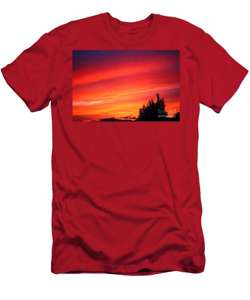 Men's T-Shirt (Slim Fit) featuring the photograph Red Skies At Night  by Nick Gustafson