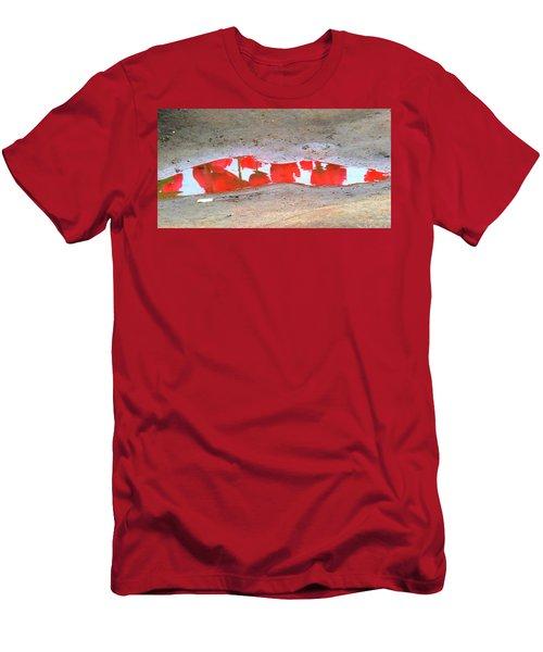 Red Tulip Reflection Men's T-Shirt (Slim Fit) by Karen Molenaar Terrell