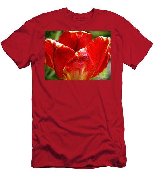 Red Tulip Men's T-Shirt (Slim Fit) by Sarah Loft