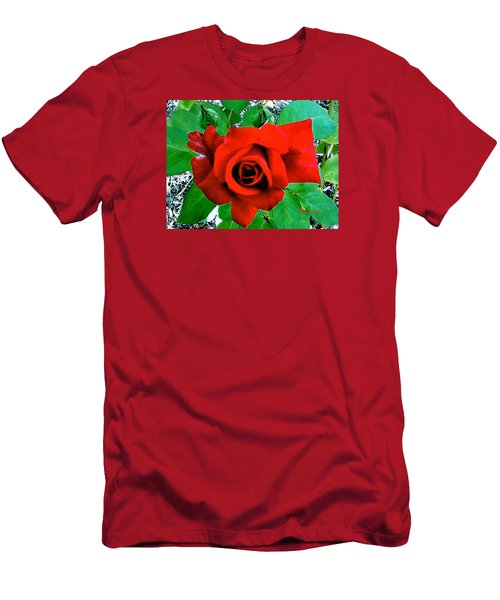 Men's T-Shirt (Slim Fit) featuring the photograph Red Velvet Rose by Sadie Reneau