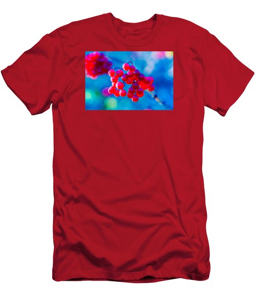 Men's T-Shirt (Slim Fit) featuring the photograph Red Viburnum Berries by Alexander Senin