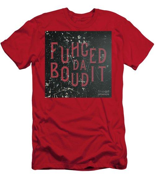 Men's T-Shirt (Athletic Fit) featuring the digital art Redblack Fuhgeddaboudit by Megan Dirsa-DuBois