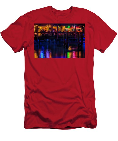 Reflections From Riverview Grill Men's T-Shirt (Slim Fit) by Dorothy Cunningham