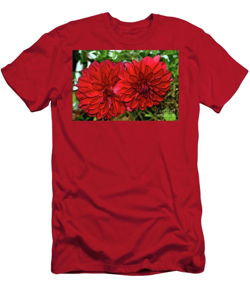 Men's T-Shirt (Slim Fit) featuring the photograph Rich Red Dahlias By Kaye Menner by Kaye Menner