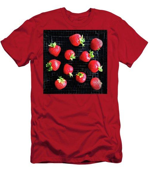 Ripe Strawberries On Back Plate Men's T-Shirt (Slim Fit) by GoodMood Art