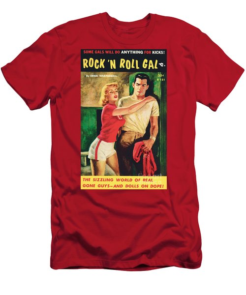 Men's T-Shirt (Slim Fit) featuring the painting Rock 'n Roll Gal by Owen Kampen