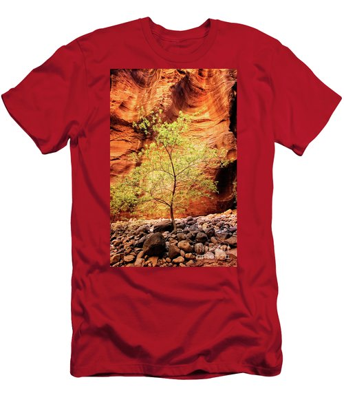 Men's T-Shirt (Athletic Fit) featuring the photograph Rock Tree by Scott Kemper