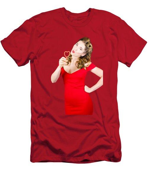 Romantic Blond Pin-up Lady Blowing Party Bubbles Men's T-Shirt (Athletic Fit)