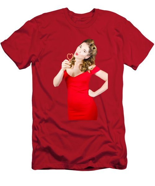 Romantic Blond Pin-up Lady Blowing Party Bubbles Men's T-Shirt (Slim Fit)