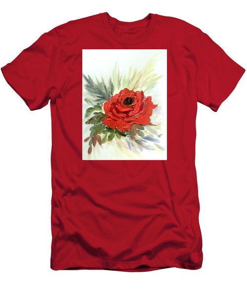 Men's T-Shirt (Slim Fit) featuring the painting Roses Are Red by Dorothy Maier