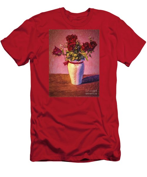 Men's T-Shirt (Slim Fit) featuring the photograph Roses In Vase  ... by Chuck Caramella