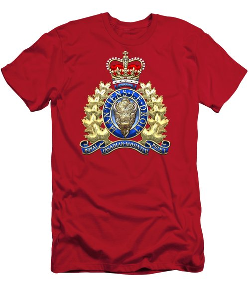 Royal Canadian Mounted Police - Rcmp Badge On Red Leather Men's T-Shirt (Slim Fit) by Serge Averbukh
