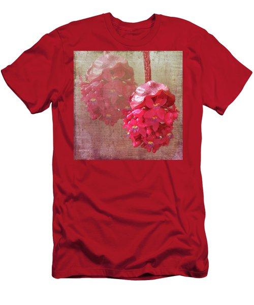 Ruby Colored Orchid Men's T-Shirt (Slim Fit) by Rosalie Scanlon