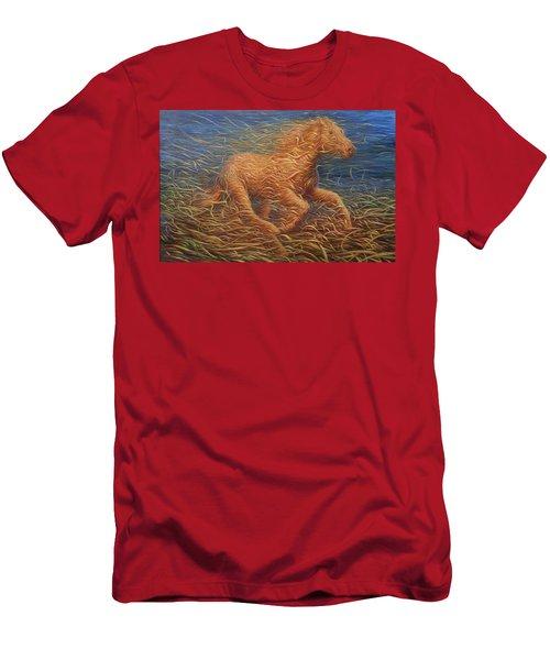 Running Swirly Horse Men's T-Shirt (Athletic Fit)