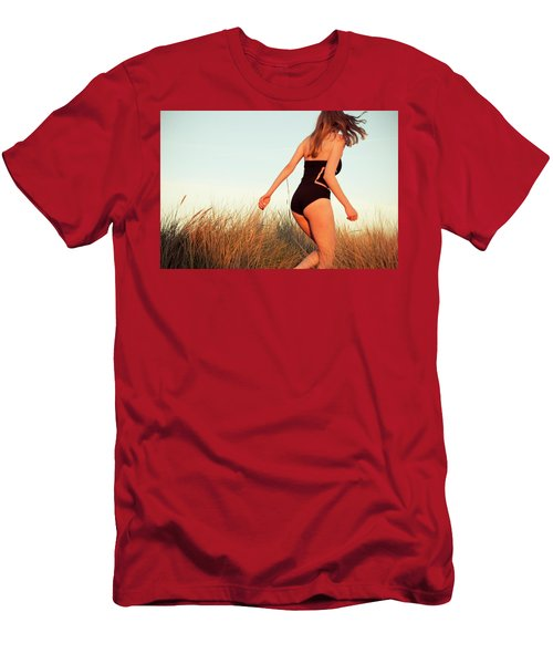 Men's T-Shirt (Athletic Fit) featuring the photograph Running Unsharp In The Golden Hour by Michael Maximillian Hermansen
