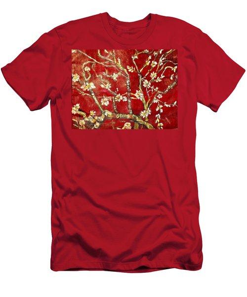 Sac Rouge Avec Fleurs D'almandiers Men's T-Shirt (Slim Fit) by Belinda Low